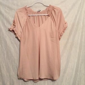 Current air anthro pink top medium flowy ruffled